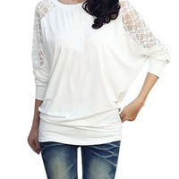 Women Floral Lace Panel Back Scoop Neck Stretchy Casual Shirt