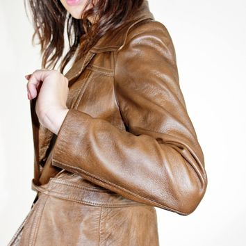 70s Cropped Leather Jacket / S