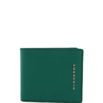 Men's London Pebbled Bi-Fold Wallet, Green - Burberry - Green
