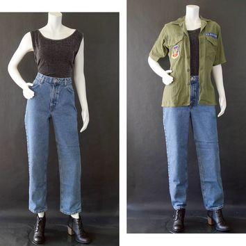 "Vintage Denim Jeans, 90s Jones Wear Sport Mom Jeans, Classic Fit Stonewashed Jeans, Vintage Classic Denim Jeans, Women's Size 10 29"" Inseam"