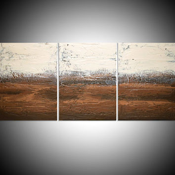 triptych 3 panel abstract acrylic art in brown gift multi panel canvas painting for home interiors neutral 48 x 20 ""