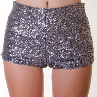 CHARCOAL SEQUIN HOT SHORTS @ KiwiLook fashion