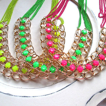 Chunky Layered Neon Flux Beaded Chain Rhinestone necklace - colored chain adjustable length