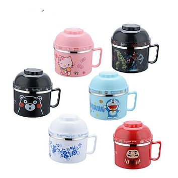 Portable Cartoon instant noodles bowl Food Thermo Lunch boxs for Kids Thermal Bento Lunchbox Stainless Steel