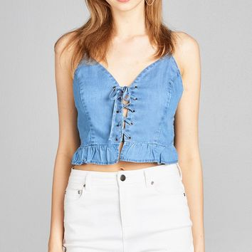 Blue Cotton Cropped Lace Up Top