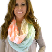 Green Mixed Stripes Infinity Scarf - Green