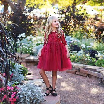 Wine Gwendolyn Dress - Toddler, Girls & Juniors