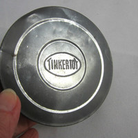 Vintage Tinkertoy Lid , Metal Lid , Lid for Vintage Tinkertoy Canister , Repurposing Piece , Metal Art Object , Media Art