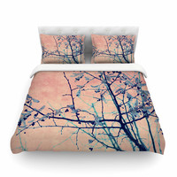 "Ingrid Beddoes ""Sweetgum Tree"" Pink Nature Cotton Duvet Cover"