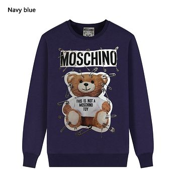 Moschino Autumn And Winter New Fashion Letter Bear Pin Print Women Men Leisure Long Sleeve Top Sweater Navy Blue
