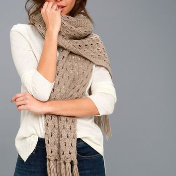 Bae Area Tan Knit Scarf