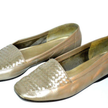 Enzo Angiolini Sz 8M Gold Matte Flats Leather Weaved Womens Shoes