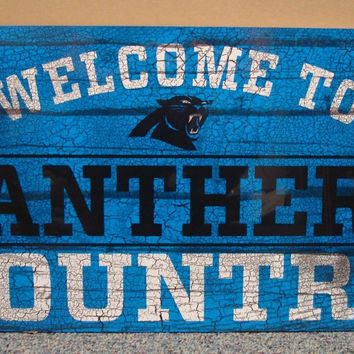 "CAROLINA PANTHERS WELCOME TO PANTHERS COUNTRY WOOD SIGN 13""X24'' NEW WINCRAFT"