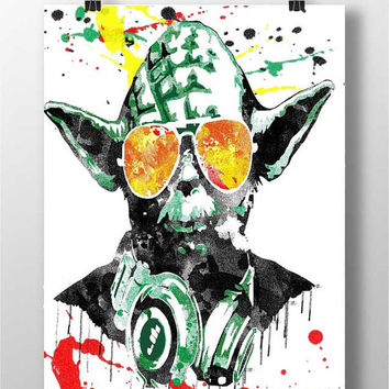 dj yoda Print - yoda dj print Art music wall decor poster