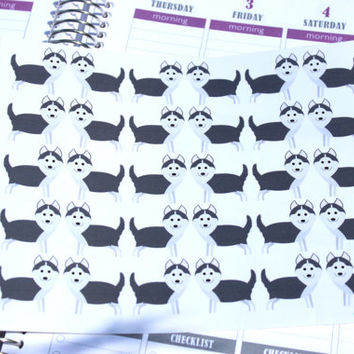 Set of 30 Husky Stickers, Perfect for Planners and Scrapbooks!