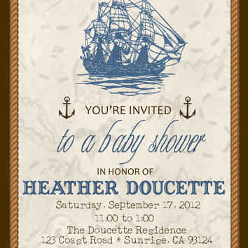 Instant Download-Treasure Map Nautical Pirate Ship DIY Printable Baby Boy Shower Invitation