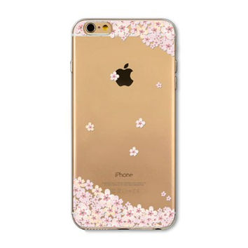 Pink Sakura Print Floral Flower Transparent Soft TPU Clear Slim Phone Back Cover Shell Case For iPhone 4 4s 5 5s SE 5C 6 6s 6 Plus 6s Plus