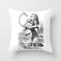 Vintage Alice in Wonderland flamingo croquet antique book drawing emo goth illustration art print  Throw Pillow by iGallery