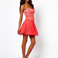 Elise Ryan Lace Bandeau Skater Dress with Pleated Skirt at asos.com