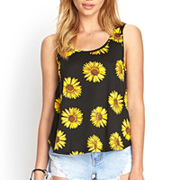 FOREVER 21 Cutout Sunflower Tank Black/Yellow