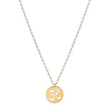 Handcrafted Brushed Metal Om Yoga Necklace