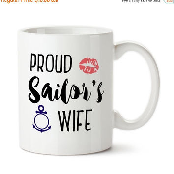 Coffee Mug, Proud Sailor's Wife, Navy, Marines, Enlisted, Anchor, Lipstick Kiss