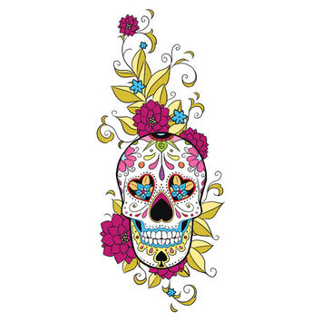 Sugar Skull with Flowers