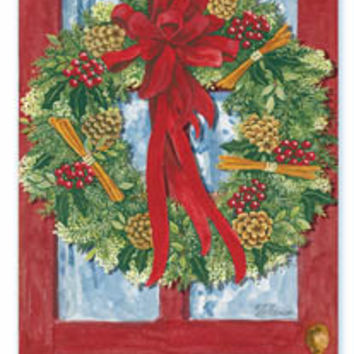 Set of 3 Red Door Wreath Envelope Sachets