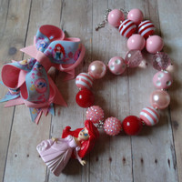 Girl Chunky Necklace- Boutique Hair bow - Princess Chunky Necklace- Disney Hair bow-  Princess Bubblegum Chunky Necklace