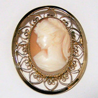 Catamore Carved Shell Cameo Brooch Pin, Gold Filled Heart Border, Antique Revival Romantic Feminine Jewelry 118