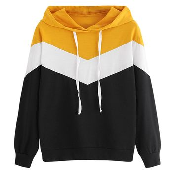 Hoodies Sweatshirts Drop Shoulder Contrast Drawstring Hoodie Autumn Casual Patchwork Long Sleeve Hooded Pullovers