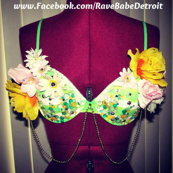 Flower 36B Green Rhinestone Rave Bra // EDC outfit// Lingerie -Other sizes available Email: RaveBabe@outlook.com