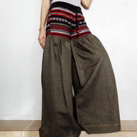 Green Denim Cotton Ruffle Super Wide Legs Pants,Drawstring Waist Hmong Unique Bell Bottom Style (Jeans-H01).