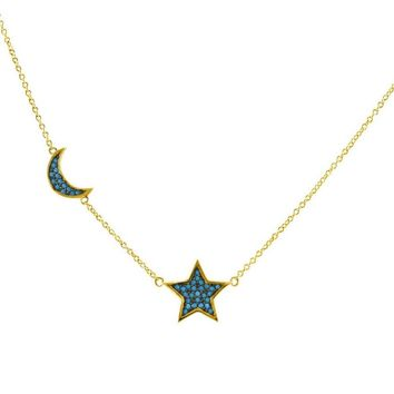 Khalinam Turquoise Star and Moon Gold Necklace
