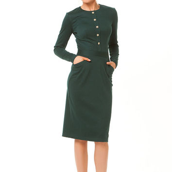 Maxi Dress Female,Dark Green Dress Pencil, Dress Jersey Autumn Winter,Casual Dress classic style.