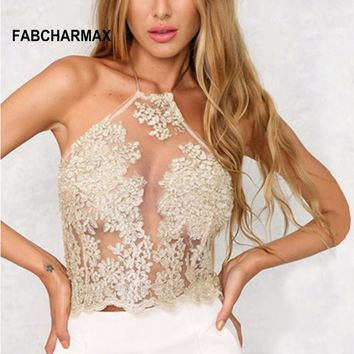 3 color lace embroidery gold tops crop halter hollow out crop top
