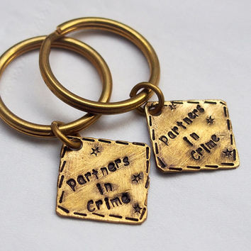 Partners in Crime keychain, Customized couples keychain, Couples keychain, Customized keyring, hammered key chain, matching couple keychain