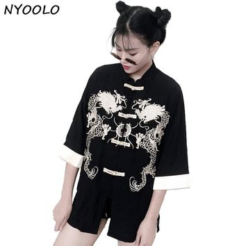 NYOOLO design China style retro handsome spring summer dragon embroidered loose three quarter linen shirt women clothing tops