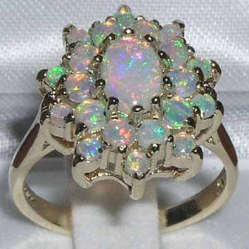 Stunning Solid 14K Yellow Gold Natural Fiery Opal Tier Cluster Ring - Made in England -  Customize:9K,14K,18K Yellow or White