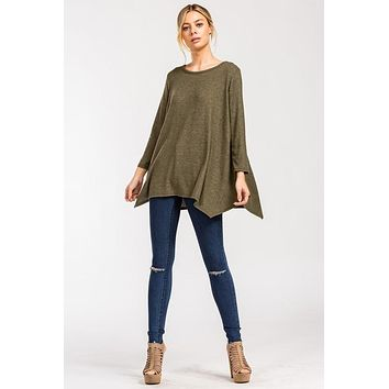 Cozy Poncho Style Top - Olive