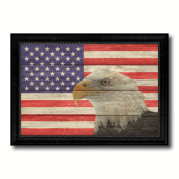USA Eagle American Flag Texture Canvas Print with Black Picture Frame Home Decor Man Cave Wall Art Collectible Decoration Artwork Gifts