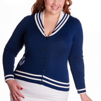 Hell Bunny Plus Sailor Pinup Prep School Navy with White Collar Anchor Cardigan
