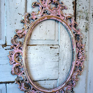 Ornate picture frame wall hanging shabby cottage chic distressed pink and gold w/ white vintage hand painted home decor anita spero design
