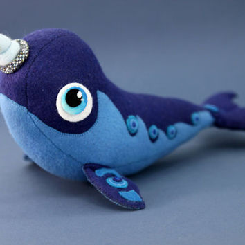 Soft toy narwhal   fantasy plush animal textile toys Soft sculpture children, fabric toy, handmade, favorite toy