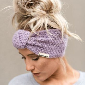 Knitted Turban Headband In Lilac