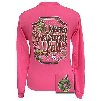 Girlie Girl Originals Merry Christmas Yall Pink Long Sleeve Bright T Shirt