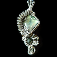 Heady wire wrap labradorite silver brass necklace pendant China jade