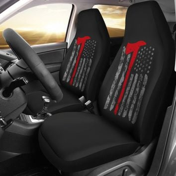Thin Red Line Flag Axe Firefighter Universal Fit Car Seat Covers