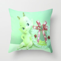 Christmas kewpie Throw Pillow by Vintage  Cuteness