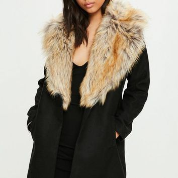Missguided - Black Faux Fur Short Wool Coat